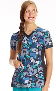 Fashion_Prints | White Cross | Print Scrub Top Hearts A Plenty