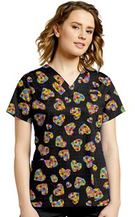 Fashion_Prints | White Cross | Print Scrub Top Heart Puzzle