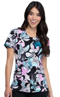 Fashion_Prints | Cherokee | Infinity Print Scrub Top Feeling Floral