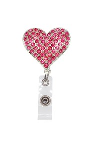 Accessories-Retractable-Badge-Clips |  | Rhinestone Badge Reel - Pink Heart