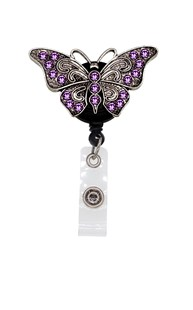 Accessories-Retractable-Badge-Clips |  | Rhinestone Badge Reel - Purple Butterfly