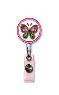 Accessories-Retractable-Badge-Clips |  | Retractable Enamel Badge Reel - Butterfly