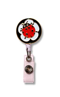 Accessories-Retractable-Badge-Clips |  | Retractable Enamel Badge Reel - Ladybug