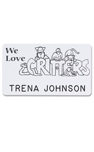 Accessories-Engraving |  | Novelty Badge We Love Critters