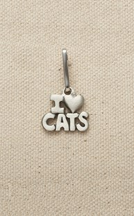 |  | Pewter Zipper Pull I Love Cats