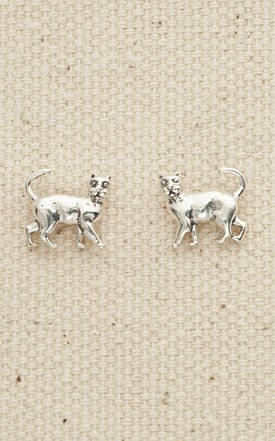 Sterling Small Cat Post Earrings Image