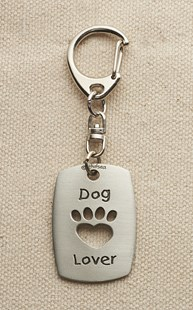 Accessories-Gifts-and-Fun-Stuff-Fun-Paw-Stuff |  | Pewter Dog Lover Paw Cut Out Keychain