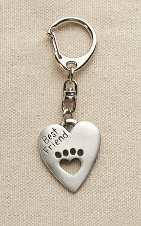 Pewter Best Friend Paw Cut Our Keychain Image