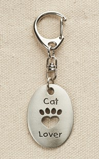 Fun-Stuff-Everything-Paws |  | Pewter Cat Lover Paw Cut Out Keychain