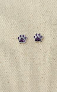 Accessories-Jewelry |  | Sterling Silver Paw Earrings Purple