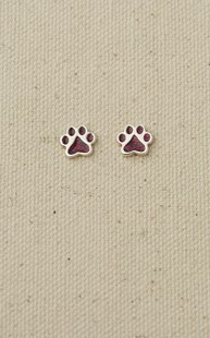 Accessories-Jewelry |  | Sterling Silver Paw Earrings Ruby