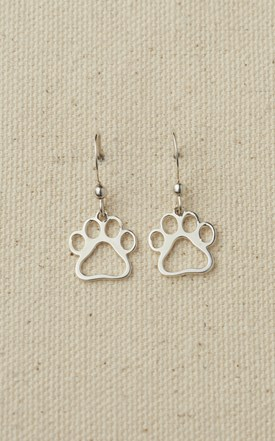 Sterling Silver Puppy Paw Earrings Image