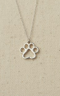Accessories-Gifts-and-Fun-Stuff-Fun-Paw-Stuff |  | Sterling Silver Puppy Paw Necklace