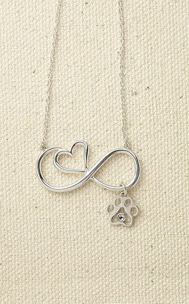 Infinity Heart Pendant with Paw & Crystal Image