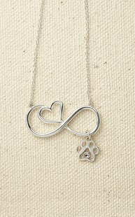 Accessories-Jewelry |  | Infinity Heart Pendant with Paw & Crystal