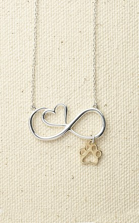 Infinity Heart Pendant with 14k Paw Image