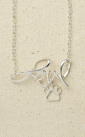 Sterling Silver Love Pendant with Paw Image