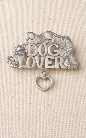 Pewter Dog Lovers Pin Image