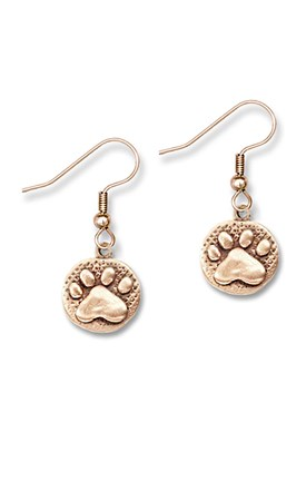 Bronze Paw Stamped Earrings Image