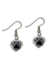 Accessories-Jewelry |  | Black Enamel Pewter Paw Earrings