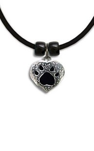 Accessories-Jewelry |  | Black Enamel Pewter Paw Heart Necklace
