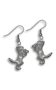 Accessories-Jewelry |  | Pewter Hanging Cat Earrings
