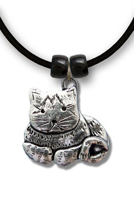 Pewter Tabby Cat Necklace Image