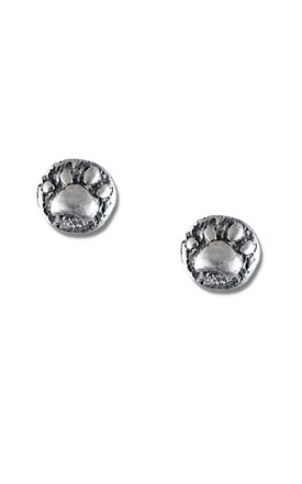 Sterling Silver Paw Stamped Post Earrings Image