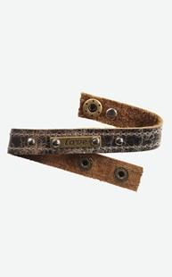 Accessories-Jewelry |  | Leather Love Cuff Bracelet - Weathered Brown