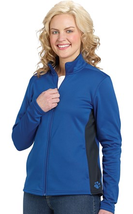 Women's Colorblock Full Zip Jacket With Embroidered Paw at Hip Image