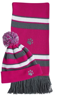 Accessories-Gifts-and-Fun-Stuff |  | Paw Embroidered Scarf and Hat Set