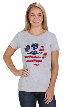 Patriotic Paws Tee Shirt Ladies Fitted Image