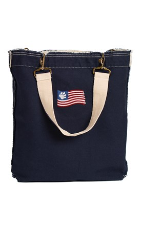 Raw Edge Tote with Embroidered Flag Image