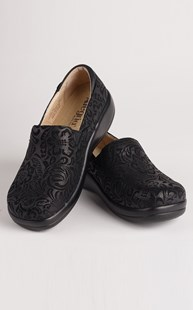 Footwear-Clogs |  | Alegria Black Embossed Paisley Clog