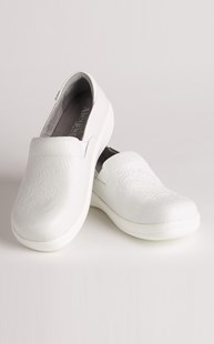 Footwear-Clogs |  | Alegria White Tooled Clogs