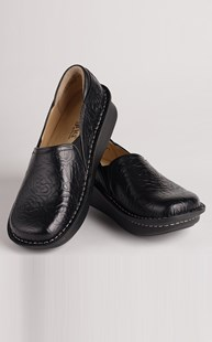 Footwear-Clogs |  | Alegria Black Embossed Rose Clog