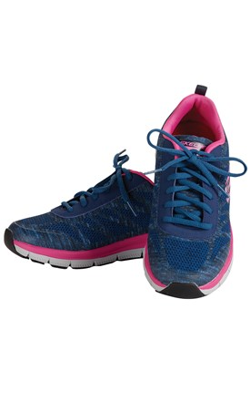 Skechers Memory Foam Navy/Pink Work Shoe Image