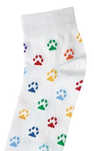 Footwear-Socks |  | Paw Print Anklet Socks-White Paws