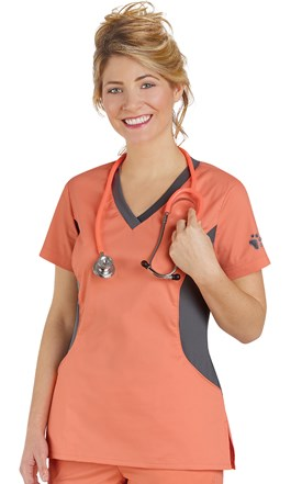 Allure Paw Knit Side Contrast Scrub Top Image
