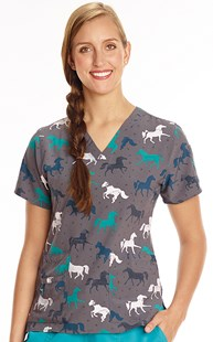 Scrubs-Animal-Prints | WonderWink | Two Pocket Print Scrub Top Galloping Horses