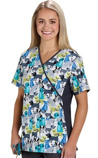 Clearance-Scrubs |  | Mock Wrap Print Top Pawsitively Yours