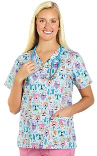 Clearance-Scrubs |  | Pastel Heads Up Two Pocket Scrub Top