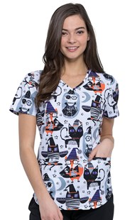 HolidayPrints |  | V Neck Scrub Top Halloween Friends