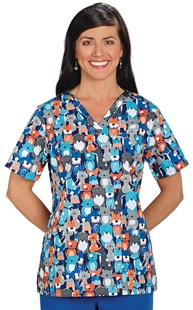 Clearance-Scrubs |  | Two Pocket Scrub Top Four Legged Friends