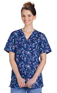 Clearance-Scrubs |  | Navy Pet Print Two Pocket Scrub Top