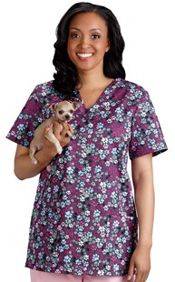 Clearance-Scrubs |  | Pewter Pet Print Two Pocket Scrub Top