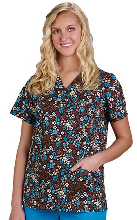 Chocolate Pet Print Two Pocket Scrub Top Image
