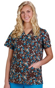 Clearance-Scrubs |  | Chocolate Pet Print Two Pocket Scrub Top