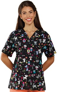 Scrubs-VAC-Exclusives-Animal-Print-Tops |  | Two Pocket Print Top Furry Bunch