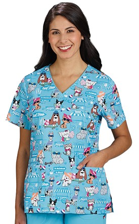 Two Pocket Print Scrub Top Paws or Tails Image
